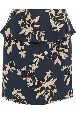 GANNI Layered floral-print crepe mini skirt