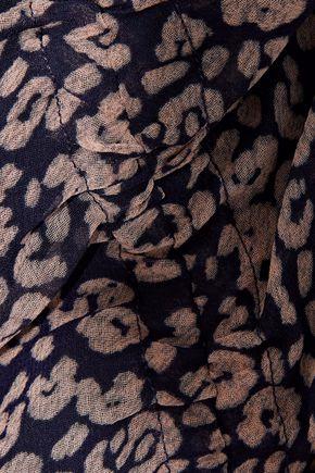 REBECCA MINKOFF Amaya ruched leopard-print crepe de chine skirt