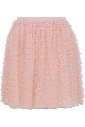 REDValentino Ruffled point d'esprit mini skirt