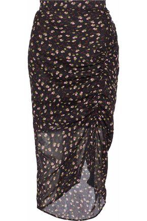 REBECCA MINKOFF Amaya ruched floral-print georgette skirt