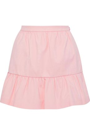 REDValentino Gathered cotton-blend piqué mini skirt