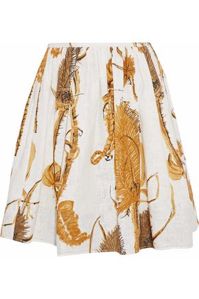 REDValentino Pleated printed cotton-gauze mini skirt