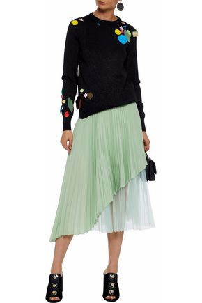 5da8496bf3 CHRISTOPHER KANE Layered pleated tulle and washed-silk midi skirt