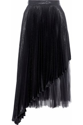 CHRISTOPHER KANE Layered tulle-paneled pleated lamé silk-blend midi skirt
