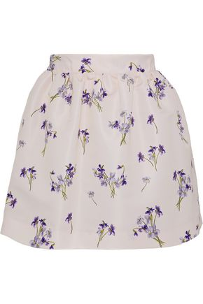 REDValentino Flared floral-print faille mini skirt