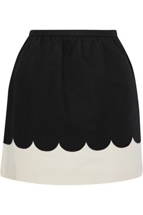 REDValentino Two-tone cotton-blend ponte skirt
