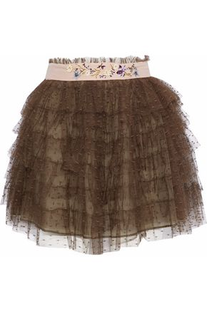 REDValentino Embellished canvas-trimmed tiered point d'esprit mini skirt