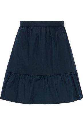 REDValentino Gathered stretch-cotton poplin mini skirt