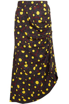 MARNI Asymmetric printed crepe midi skirt