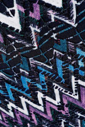 SALONI Pleated guipure lace midi skirt