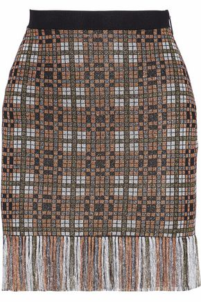 CHRISTOPHER KANE Fringe-trimmed metallic jacquard-knit mini skirt