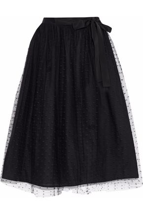 REDValentino Grosgrain-trimmed point d'esprit midi skirt