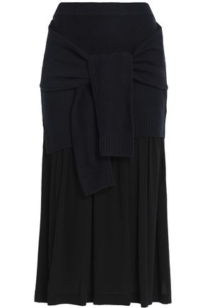 JOSEPH Wool and cashmere-blend midi skirt