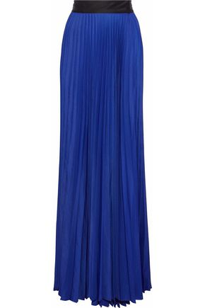 DIANE VON FURSTENBERG Pleated sateen wrap maxi skirt