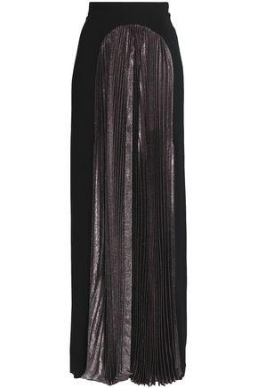 CHRISTOPHER KANE Pleated metallic-paneled crepe maxi skirt