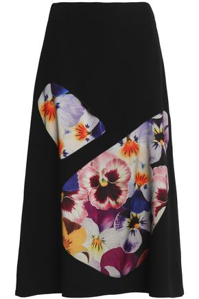 CHRISTOPHER KANE Printed tulle-paneled wool-blend crepe midi skirt