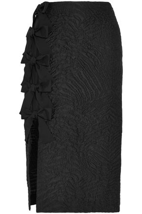 FENDI Split-front bow-embellished cloqué midi skirt