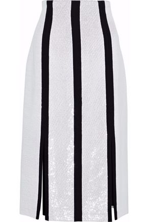 DIANE VON FURSTENBERG Sequined striped crepe skirt