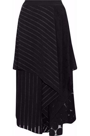 DIANE VON FURSTENBERG Cloqué-paneled jacquard silk-organza midi skirt