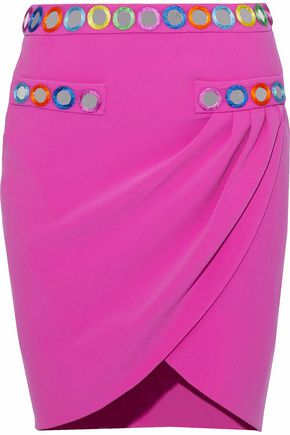 MOSCHINO Wrap-effect appliquéd cady mini skirt