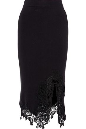 JONATHAN SIMKHAI Guipure lace-trimmed stretch-knit skirt