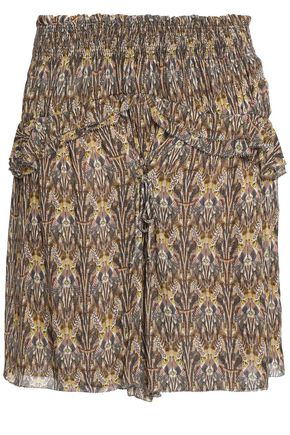 IRO Printed crepe de chine mini skirt