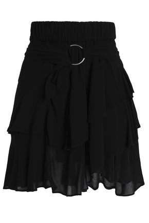 IRO Belted ruffled crepe mini skirt