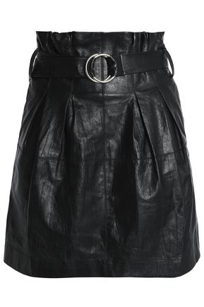 IRO Belted leather mini skirt
