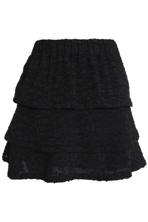 IRO Zannia tiered fil coupé crepe mini skirt