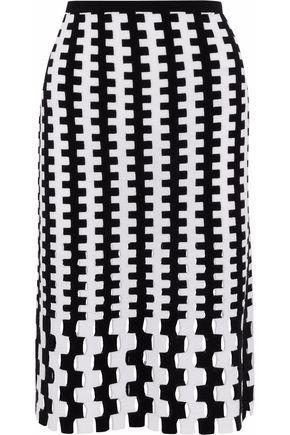 DIANE VON FURSTENBERG Laser-cut intarsia-knit merino wool skirt