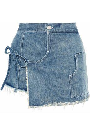 Woman Storey Wrap-Effect Layered Denim Shorts Mid Denim