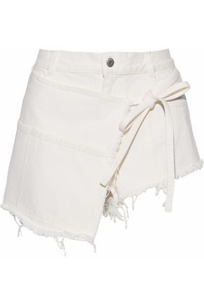 SANDY LIANG Perry wrap-effect frayed denim shorts