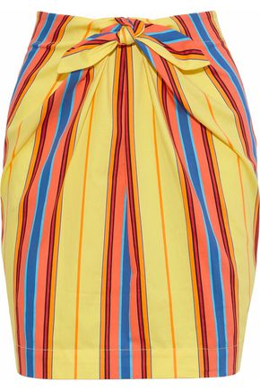 MOSCHINO Tie-front striped cotton-blend twill mini skirt