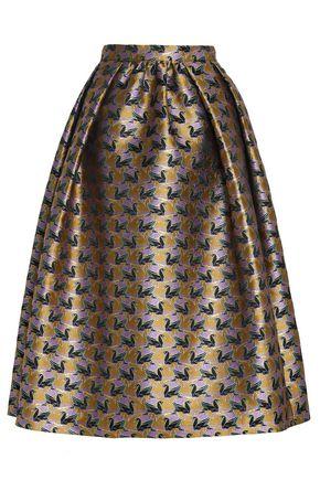 MARY KATRANTZOU Pleated metallic jacquard-knit midi skirt