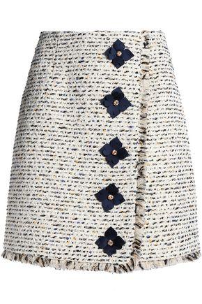 MARY KATRANTZOU Floral-appliquéd tweed mini skirt