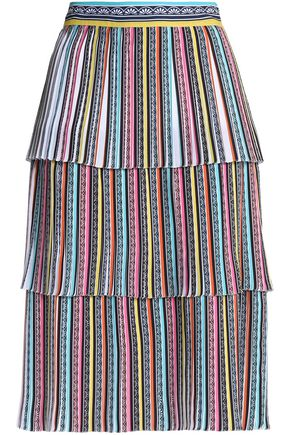 MARY KATRANTZOU Pleated printed crepe midi skirt