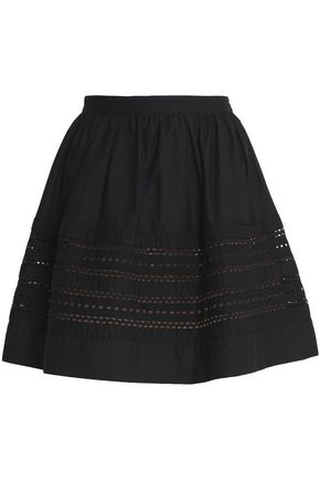 REDValentino Flared broderie anglaise-paneled cotton mini skirt