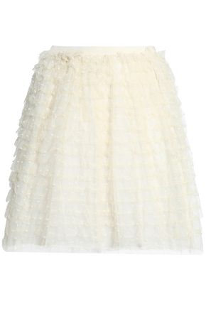 REDValentino Ruffled point d'esprit mini skirt
