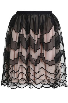 REDValentino Paneled organza and tulle mini skirt