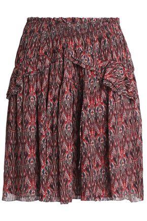 IRO Floral-print crepe de chine mini skirt