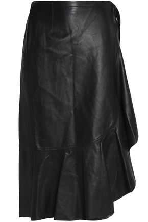 HELMUT LANG Ruffled leather wrap skirt