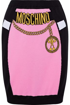 MOSCHINO Intarsia cotton mini skirt