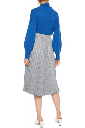 IRIS & INK Bree pleated Prince of Wales checked woven midi skirt