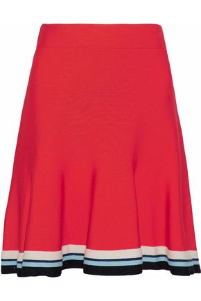 VICTORIA, VICTORIA BECKHAM Fluted striped knitted mini skirt