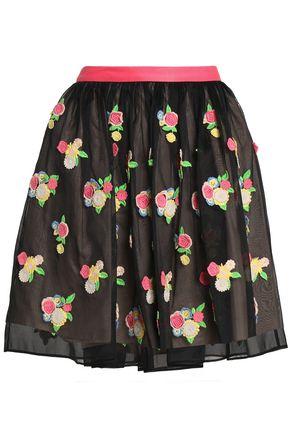 REDValentino Pleated floral-appliquéd organza mini skirt