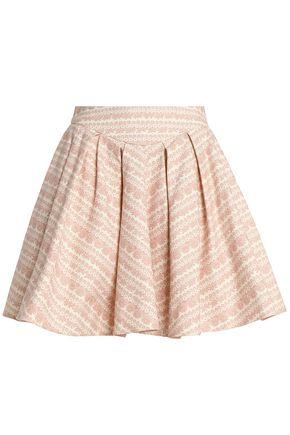 REDValentino Flared floral-print cotton-canvas mini skirt