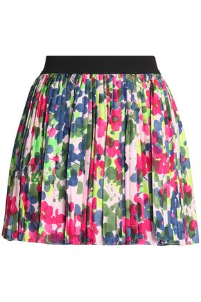 REDValentino Printed pleated silk-twill mini skirt