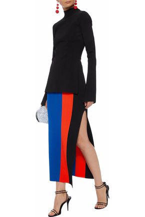 SOLACE LONDON Anais color-block stretch-knit maxi skirt