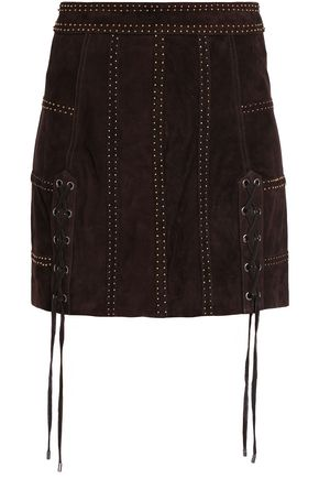 HAUTE HIPPIE Lace-up studded suede mini skirt