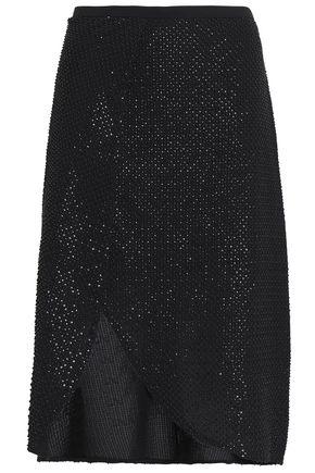 HALSTON HERITAGE Wrap-effect beaded crepe skirt